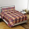 The Brown Square Poly Cotton Double Bedsheet with 2 Pillow Cover Set