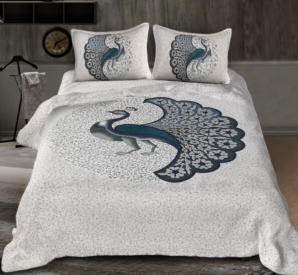 Twill Dancing Blue Peacock King Size Double Bedsheet