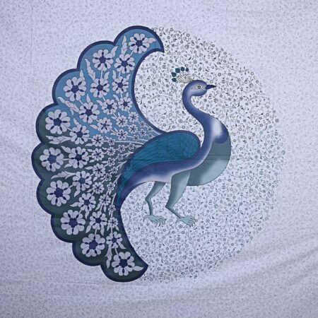 Twill Dancing Blue Peacock King Size Double Bedsheet Closeup