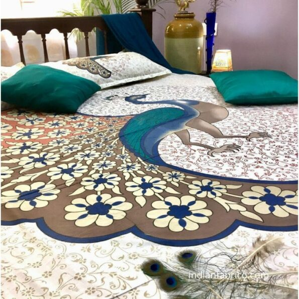Twill Dancing Peacock King Size Bedsheets