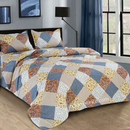 Twill Multicolor Floral Geometric King Size Bedsheet with 2 Pillow Cover Set