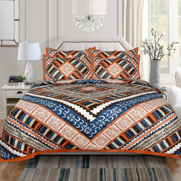 Twill Poly Cotton Colorful Patchwork Design Double Bedsheet with 2 Pillow Cover Set