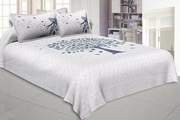 White Base Blue Spring Tree Design Super Fine Cotton King Size Bedsheets