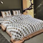 White Base Fine Cotton Multi Floral Print with Brown Border Double Bedsheet