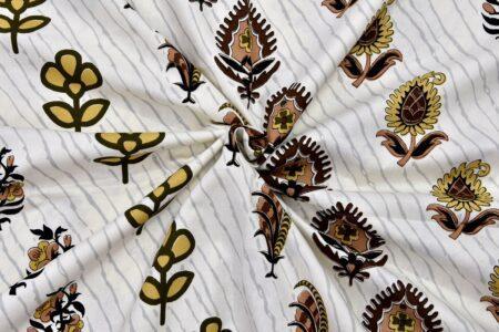 White Base Fine Cotton Multi Floral Print with Brown Border Double Bedsheet Closeup