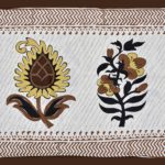 White Base Fine Cotton Multi Floral Print with Brown Border Double Bedsheet Pillow Design