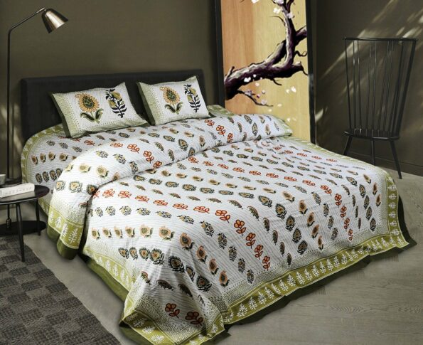White Base Fine Cotton Multi Floral Print with Green Border Double Bedsheet
