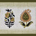 White Base Fine Cotton Multi Floral Print with Green Border Double Bedsheet.jpg Pillow Design