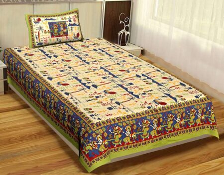 Beautiful Dancing Tradition Green Border Single Bed Sheet with Single Pillow Cover