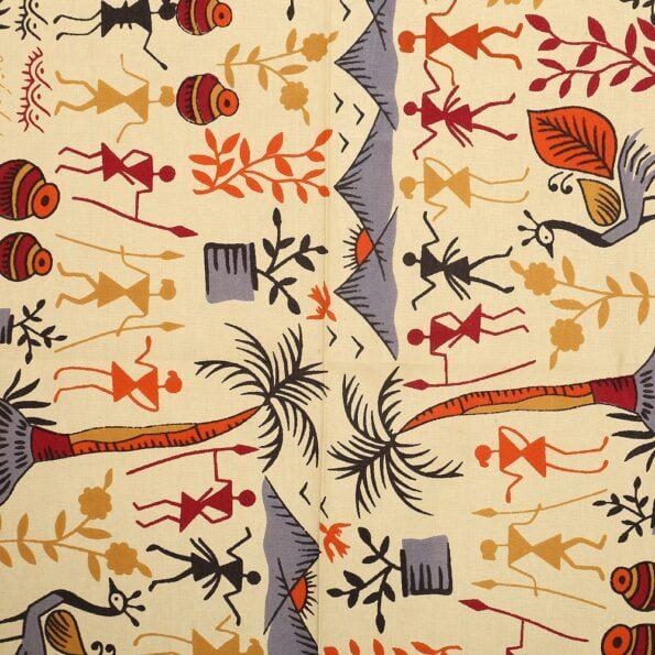 Beautiful Dancing Tradition Red Border Single Bed Sheet Closeup