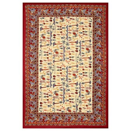 Beautiful Dancing Tradition Red Border Single Bed Sheet Full Design