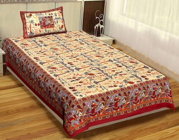 Beautiful Dancing Tradition Red Border Single Bed Sheet with Single Pillow Cover