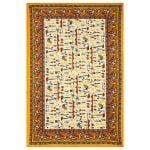 Beautiful Dancing Tradition Yellow Border Single Bed Sheet Full Design
