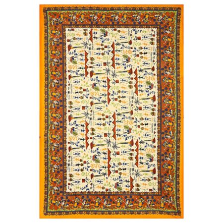 Beautiful Dancing Tradition Yellow Border Single Bed Sheet Full Design