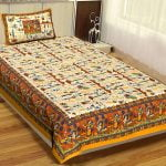 Beautiful Dancing Tradition Yellow Border Single Bed Sheet with Single Pillow Cover