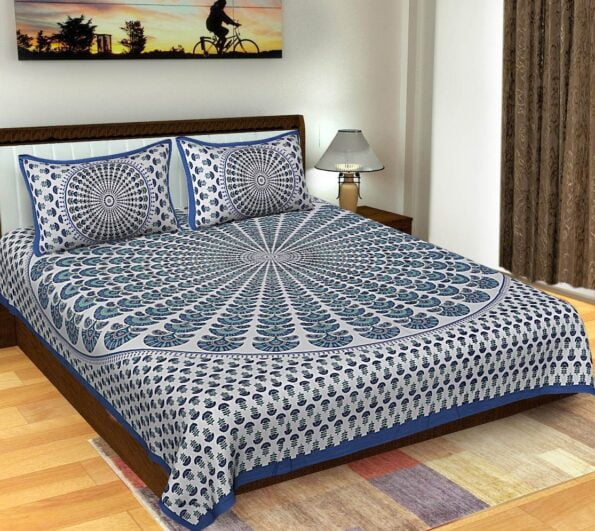 Blue Mandala Tapestry King Size Pure Cotton Double Bedsheet