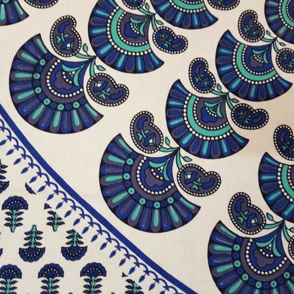 Blue Mandala Tapestry King Size Pure Cotton Double Bedsheet Close up