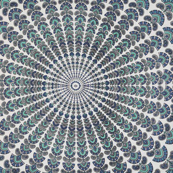 Blue Mandala Tapestry King Size Pure Cotton Double Bedsheet Closeup