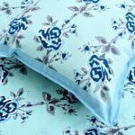 Ethnic Jaipuri Blue Flower Print Sky Color Double Bed Sheet Close up
