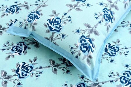 Ethnic Jaipuri Blue Flower Print Sky Color Double Bed Sheet Close up