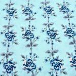 Ethnic Jaipuri Blue Flower Print Sky Color Double Bed Sheet Closer