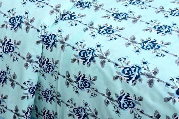 Ethnic Jaipuri Blue Flower Print Sky Color Double Bed Sheet Closeup