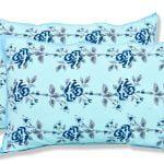 Ethnic Jaipuri Blue Flower Print Sky Color Double Bed Sheet Pillow