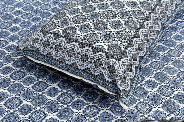 Ethnic Jaipuri Charm Blue Double Bed Sheet Closeup