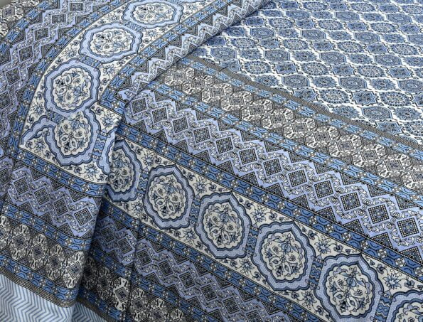 Ethnic Jaipuri Charm Blue Double Bed Sheet Lookout