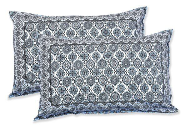 Ethnic Jaipuri Charm Blue Double Bed Sheet Pillows