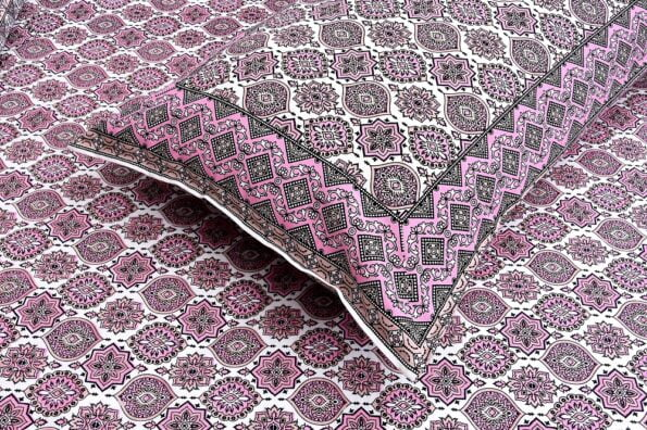 Ethnic Jaipuri Charm Pink Double Bed Sheet Close up