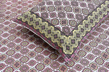 Ethnic Jaipuri Charm Pink Double Bed Sheet Closeup