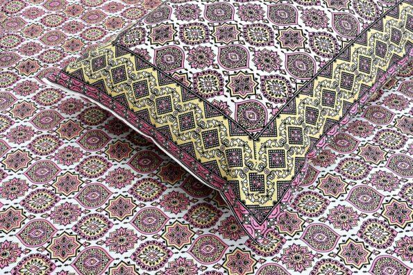 Ethnic Jaipuri Charm Pink Double Bed Sheet Closeup