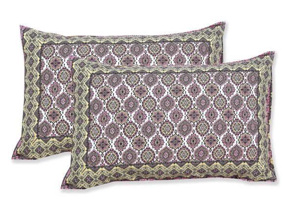 Ethnic Jaipuri Charm Pink Double Bed Sheet Pillow Cover
