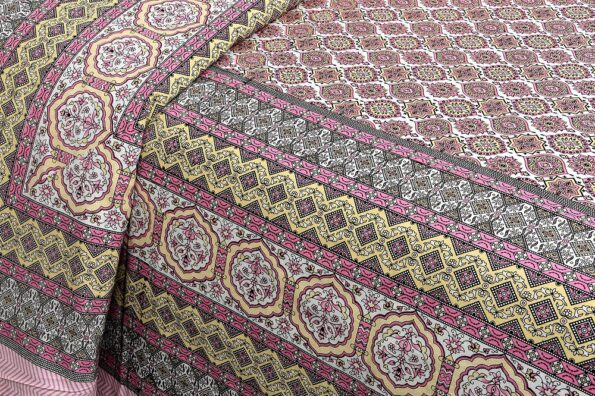 Ethnic Jaipuri Charm Pink Double Bed Sheet Side View