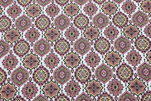 Ethnic Jaipuri Charm Pink Double Bed Sheet View