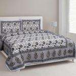 Ethnic Jaipuri Grey Flowery Print Double Bed Sheet