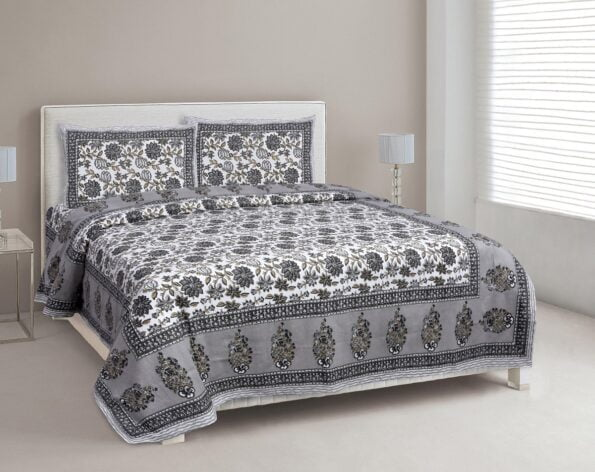 Ethnic Jaipuri Grey Flowery Print Double Bed Sheet