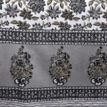 Ethnic Jaipuri Grey Flowery Print Double Bed Sheet Border