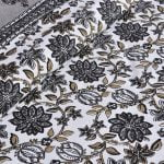 Ethnic Jaipuri Grey Flowery Print Double Bed Sheet Close up