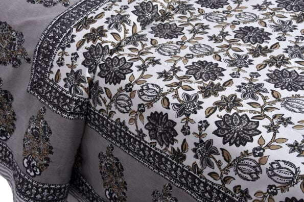 Ethnic Jaipuri Grey Flowery Print Double Bed Sheet Closeup