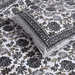 Ethnic Jaipuri Grey Flowery Print Double Bed Sheet Lookout