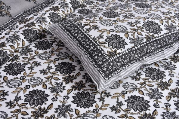 Ethnic Jaipuri Grey Flowery Print Double Bed Sheet Lookout