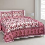Ethnic Jaipuri Pink Flowery Print Double Bed Sheet