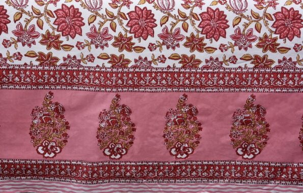 Ethnic Jaipuri Pink Flowery Print Double Bed Sheet Close