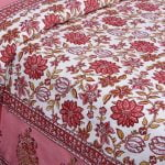 Ethnic Jaipuri Pink Flowery Print Double Bed Sheet Closeup