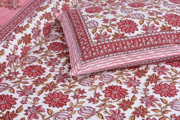 Ethnic Jaipuri Pink Flowery Print Double Bed Sheet Lookout