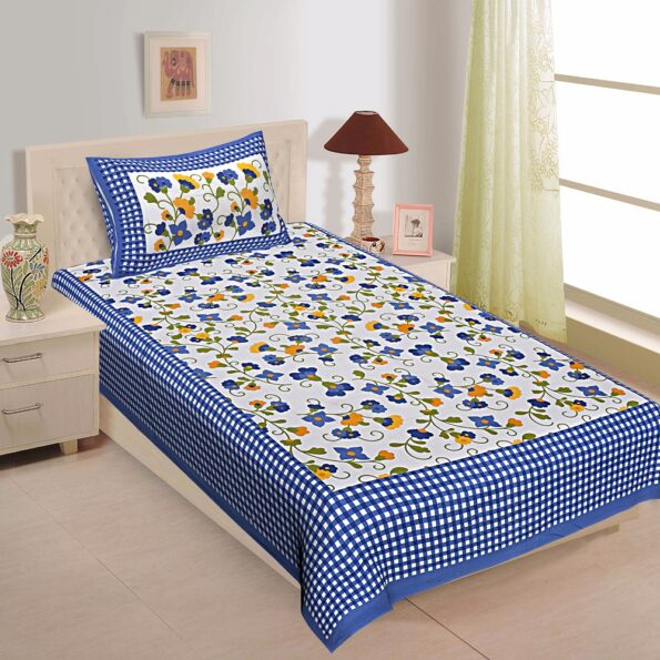 Floral Print Blue Color Dotted Border Single Bed Sheet