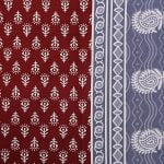 Maroon Base Floral Pattern Screen Print Cotton Single Bed sheet Closeup