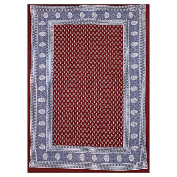 Maroon Base Floral Pattern Screen Print Cotton Single Bed sheet Full Design